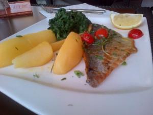 Doradenfilet mit Zitronenkartoffeln und Spinat im Kölner Limani im Rheinauhafen