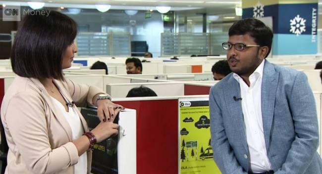 Mallika Kapur von CNN und Ola-Marketingdirektor Anand Subramanium (Foto: CNN International)
