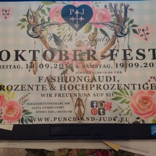 Einladung von Punch & Judy im Riesenformat zum Oktoberfest-Shoppen in der Boutique